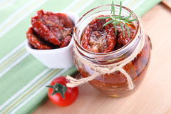 Sun dried tomatoes with olive oil in a jar Royalty Free Stock Photos