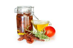 Sun dried tomatoes in olive oil Stock Photography