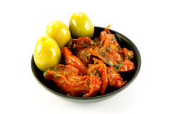 Sun Dried Tomatoes and Olives Stock Photos