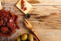 Sun dried tomatoes with olives Stock Photography