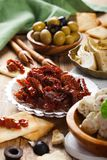 Sun dried tomatoes with olives Royalty Free Stock Photo