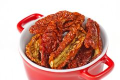 Sun-dried tomatoes in a pot Royalty Free Stock Photos