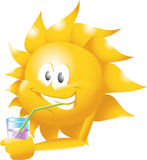 Sun with drink Royalty Free Stock Images