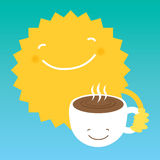 Sun drink coffee from a white cup in the morning. Design element for coffee offers vector illustration