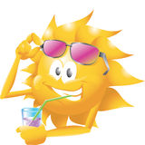 Sun with drink and glasses Royalty Free Stock Photography