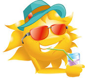 Sun with drink glasses and hat Stock Image