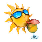 Sun drinking juice and glasses Royalty Free Stock Photos
