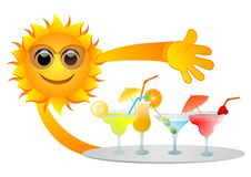Sun and drinks. Vector illustration of sun holding a plate with  drinks isolated Royalty Free Stock Images