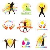 Sun droplets. Set of symbols. Children, sun, nature, and rainbow paints Royalty Free Stock Photo