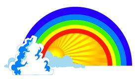 Sun e arco-íris ilustração do vetor