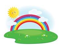 Sun e arco-íris Foto de Stock Royalty Free