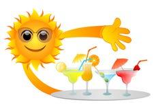Sun e bebidas ilustração do vetor