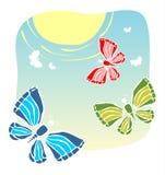 Sun e borboletas ilustração do vetor