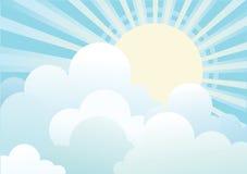 Sun e céu azul com nuvens. ilustração stock