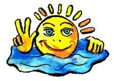Sun e céu e descanso. O sol de sorriso do verão Fotos de Stock Royalty Free