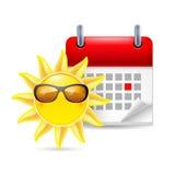 Sun e calendario Fotografie Stock