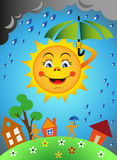Sun e chuva Fotografia de Stock Royalty Free