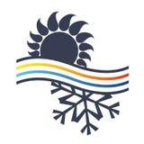 Sun e condicionamento de ar do símbolo do floco de neve ilustração stock