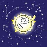 Sun e costellazioni nel cielo notturno Fotografie Stock