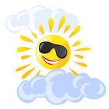 Sun e desenhos animados das nuvens Fotos de Stock