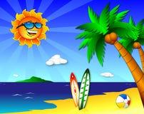 Sun e divertimento sulla spiaggia Fotografia Stock Libera da Diritti