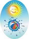 Sun e esfera de praia. Imagem de Stock