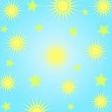 Sun e estrelas ilustração stock