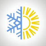 Sun e icono del copo de nieve Imágenes de archivo libres de regalías