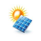 Sun e icono del panel solar aislado en blanco ilustración del vector
