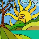Sun e lago illustrazione vettoriale