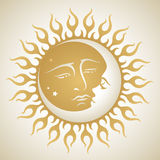 Sun e lua Fotografia de Stock Royalty Free