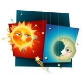 Sun e lua Fotografia de Stock