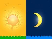 Sun e lua ilustração do vetor
