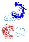 Sun e lua Dia e noite ilustração stock