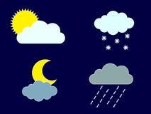 Sun e lua Nuvem e precipitação ilustração do vetor