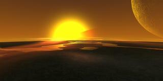Sun e luas Imagens de Stock