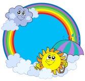 Sun e nubi nel cerchio del Rainbow Fotografie Stock Libere da Diritti