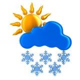 Sun e nuvem e floco de neve no fundo branco Mal 3D isolado Fotos de Stock Royalty Free