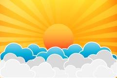Sun e nuvens ilustração royalty free