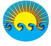 Sun e ondas Fotografia de Stock Royalty Free