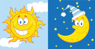 Sun e personaggi dei cartoni animati della luna Fotografie Stock Libere da Diritti