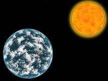 Sun e planeta Imagens de Stock Royalty Free
