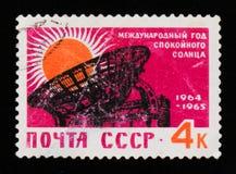 Sun e radar del radiotelescopio, anno calmo 1964-1965 del sole dell'internazionale, circa 1964 Fotografia Stock