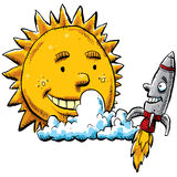 Sun e Rocket Foto de Stock Royalty Free