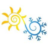 Sun e símbolo do floco de neve para o condicionamento de ar ilustração stock