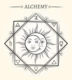 Sun e simbolo mistico di astrologia della luna royalty illustrazione gratis