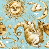 Sun e teste padrão sem emenda da lua grupo de símbolos celestiais, sol da ilustração da aquarela, lua, estrela, dragão, eclipse c ilustração do vetor