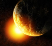 Sun and Earth. Illustration of Earth and Sun with background of space Royalty Free Stock Image