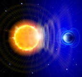 Sun and Earth in the depths of space. Scheme of solar radiation and electromagnetic field of the Earth Stock Photography