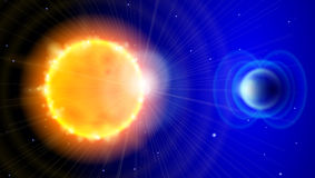 Sun and Earth in the depths of space. Scheme of solar radiation and electromagnetic field of the Earth Stock Images